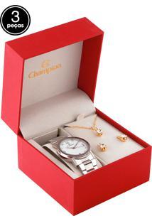 Kit 3 Pçs Relógio Champion Cn29026E Prata