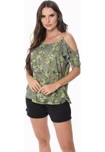 Blusa Zipituka Com Alça 107 Estampa Verde - Verde - Gg - Feminino