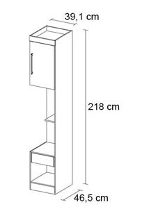 Armario Criado Modulado 1 Porta Modena Nogal - Demobile