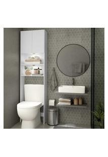 Armário Banheiro Com 2 Leds Para Vaso Sanitário E 2 Portas Multimóveis Branco