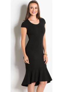 Vestido Peplum Preto Moda Evangélica