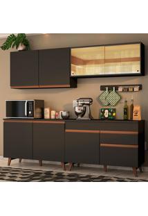 Cozinha Completa Madesa Reims 240001 Com Armário E Balcão - Preto Preto