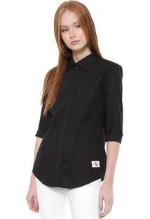 Camisa Calvin Klein Jeans Reta Lisa Preta