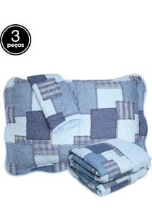 Kit 3Pçs Colcha Casal Santista Boutis Jeans Azul