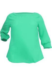 Blusa Confidencial Crepe Chiara Plus Size Feminina - Feminino-Verde