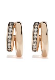 Pomellato Par De Brincos Iconica De Ouro Rosa 18K Com Diamantes - Gold