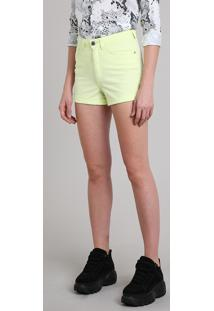 5d568310c R$ 79,99. CEA Short De Sarja Feminino Hot Pant Cintura Alta Amarelo Neon