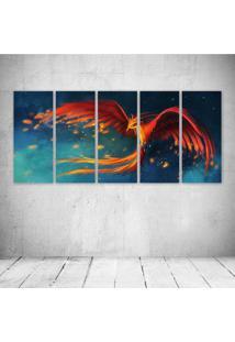 Quadro Decorativo - Fantasy Pheonix Bird Art Artwork - Composto De 5 Quadros