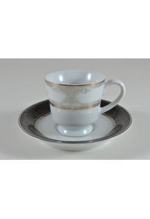 Conjunto De Xícaras Para Café C/ Pires Porcelana Schmidt 06 Peças - Dec. Royal