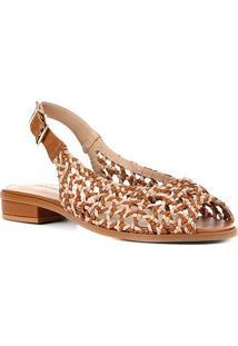 Rasteira Shoestock Slingback Macramê - Feminino-Caramelo