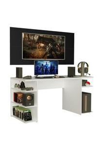 Mesa Gamer Madesa 9409 E Painel Para Tv Até 50 Polegadas - Branco/Preto Branco