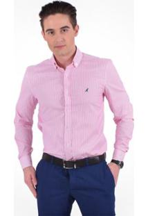 138a2ebd48 ... Camisa Social Listrada Masculina - Slim - Masculino-Rosa