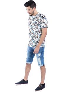 Camiseta Carlan Estampada Aquarela Bege