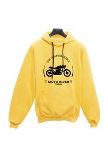 Blusa Moletom Canguru Moto Rider - Amarelo