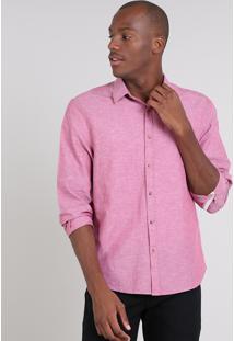 Camisa Masculina Comfort Com Linho Manga Longa Vinho