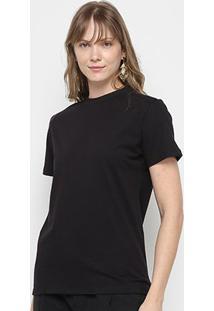 Camiseta Colcci Alongada Estampa Costas Feminina - Feminino-Preto