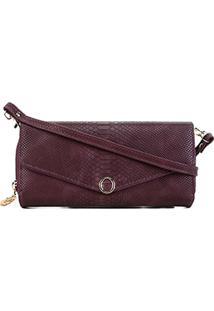 Carteira Luxcel Mini Bag Croco Feminina - Feminino-Vinho