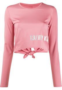 Calvin Klein Blusa Cropped Com Estampa De Logo Metálico - Rosa