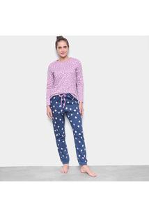 Pijama Longo Hering Gatos Corações Moletinho Feminino - Feminino-Rosa+Azul