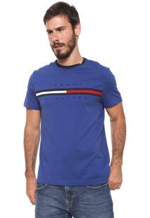 Camiseta Tommy Hilfiger Bordada Azul