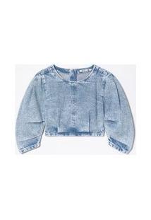Blusa Cropped Em Jeans Marmorizado Com Manga Princesa | Blue Steel | Azul | P