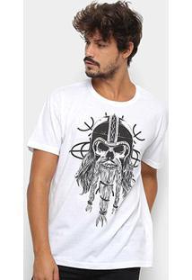 Camiseta Triton Caveira Masculina - Masculino-Branco