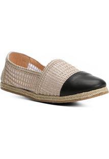 Espadrille Shoestock Flat Bordada Feminina - Feminino-Preto+Bege