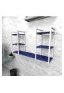Estante Industrial Escritório Aço Cor Branco 120X30X68Cm (C)X(L)X(A) Cor Mdf Azul Modelo Ind31Azes