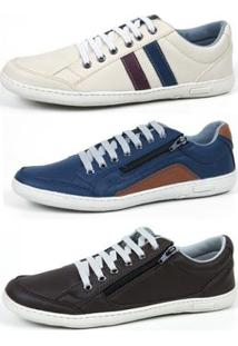 Kit 3 Pares Sapatênis Top Franca Shoes Masculino - Masculino-Bege+Marrom
