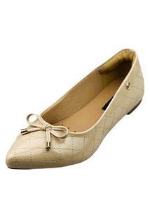 Sapatilha Bico Fino Love Shoes Matelasse Laçinho Verniz Bege