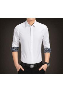 Camisa Masculina Manga Longa Com Detalhe Floral - Branco