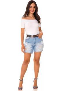 Bermuda Jeans Express Momy Cidy - Feminino-Azul