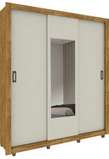 Guarda Roupa Malibu 3 Portas Com Espelho Ipê Rústico / Off White