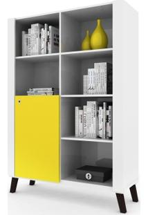 Estante Biblioteca Com Nichos E 1 Porta Alpha Branco/Amarelo Colibri Móveis