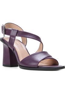 Sandália Couro Shoestock Salto Bloco Tira Transversal Feminina - Feminino