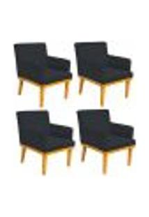 Kit 04 Poltronas Decorativa Para Sala De Estar Base Mel Beatriz W01 Suede Preto - Lyam Decor