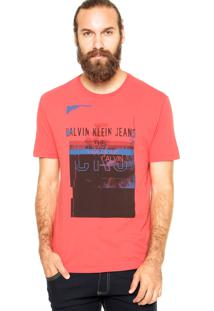 Camiseta Calvin Klein Jeans Estampa Coral