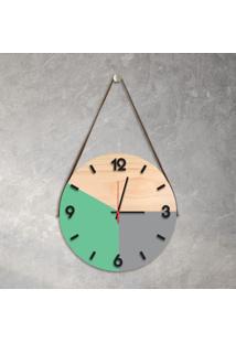 Relógio De Parede Decorativo Adnet Verde Claro E Cinza Com Números Em Relevo Médio