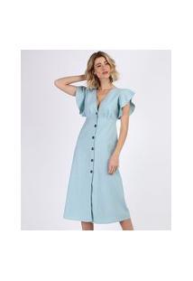 Vestido Feminino Midi Com Linho E Botões Babado Na Manga Azul