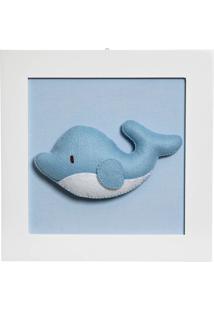 Quadro Decorativo Baleia Potinho De Mel Azul
