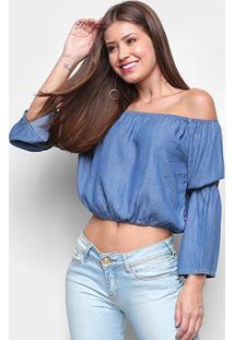 Blusas Cropped Cambos Ombro A Ombro Fake Jeans Feminina - Feminino-Azul