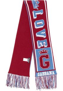 Dolce & Gabbana Cachecol De Cashmere Com Logo - Vermelho