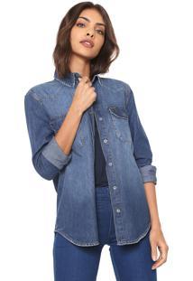 Camisa Jeans Calvin Klein Jeans Bolsos Azul