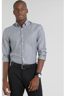 Camisa Masculina Comfort Listrada Com Bolso Manga Longa Cinza
