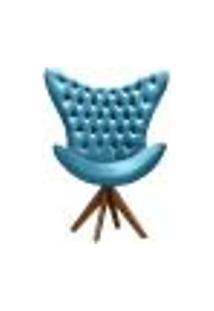 Poltrona Decorativa Egg Com Capitonê Pé Giratório Madeira Para Sala, Tv Estar, Escritório - Veludo Azul