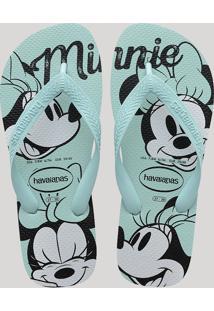Chinelo Havaianas Feminino Minnie Mouse Azul Claro
