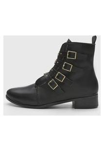 Bota Dafiti Shoes Fivelas Preta