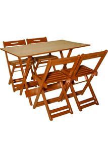 Jogo Com 4 Cadeiras Dobrável 120X70 Mel - Btb Móveis