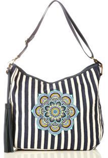 Bolsa Saco Listrada Bordado Mandala Azul