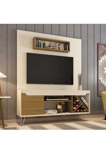 Estante Para Tv Até 52 Polegadas 1 Porta 5 Prateleiras Com Adega Lauren 2075343 Off White/Cinamomo - Bechara Móveis